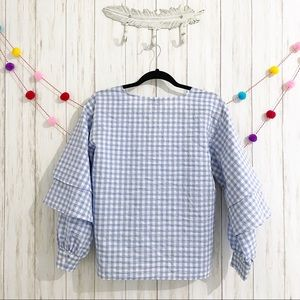 Topshop Tops - Topshop gingham tiered ruffle sleeve blouse 6
